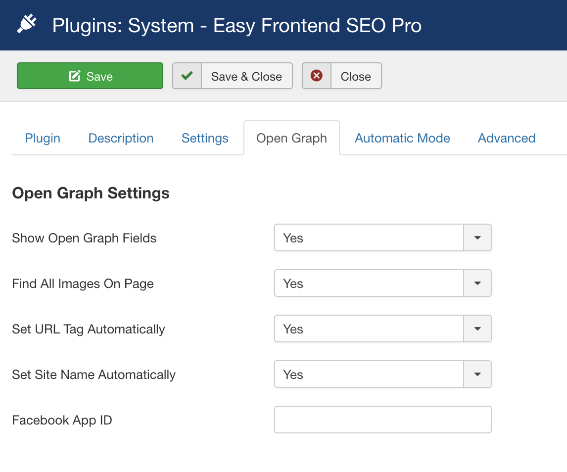 Easy Frontend SEO Pro - Open Graph Settings