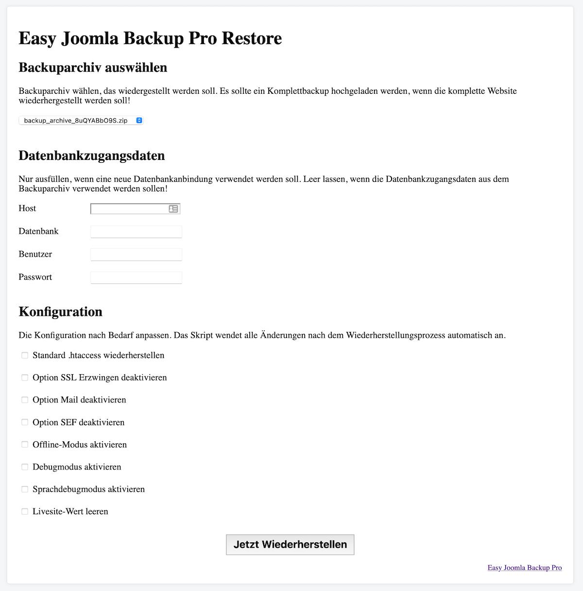 Easy Joomla Backup - Backup Wiederherstellungsskript