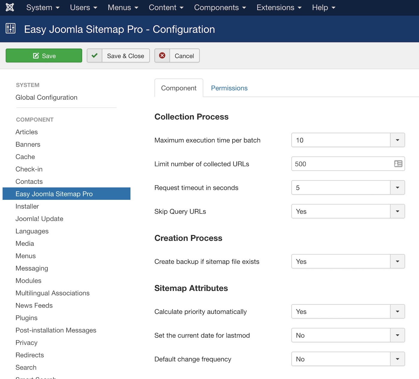 Easy Joomla Sitemap - Settings