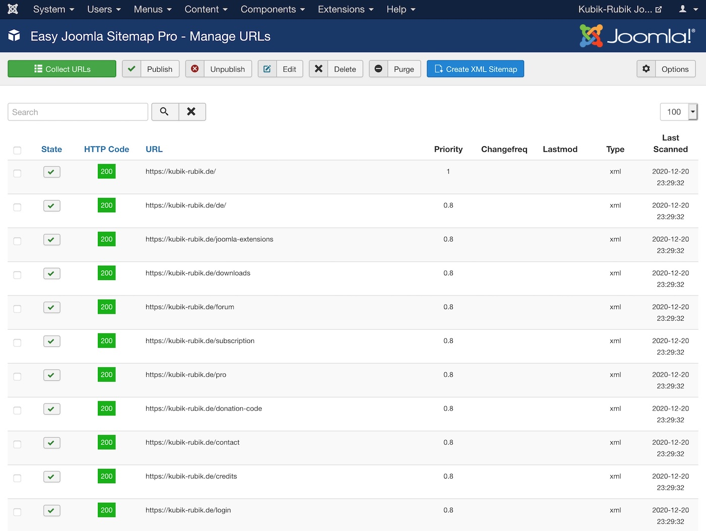 Easy Joomla Sitemap - Main Dashboard Overview